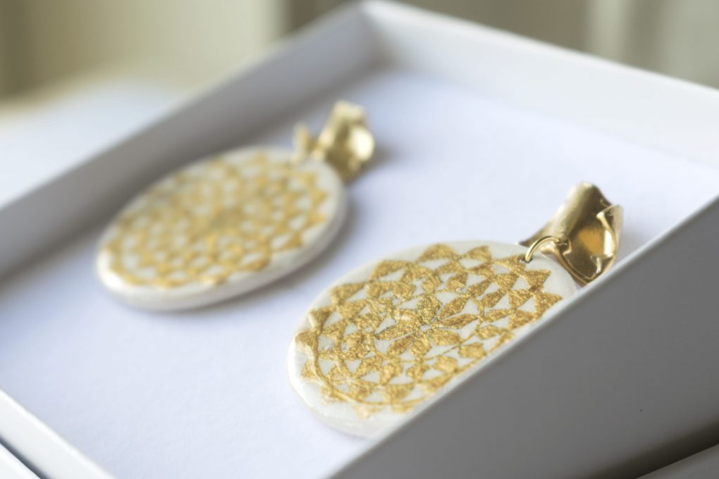 Orecchini Monreale panna e oro