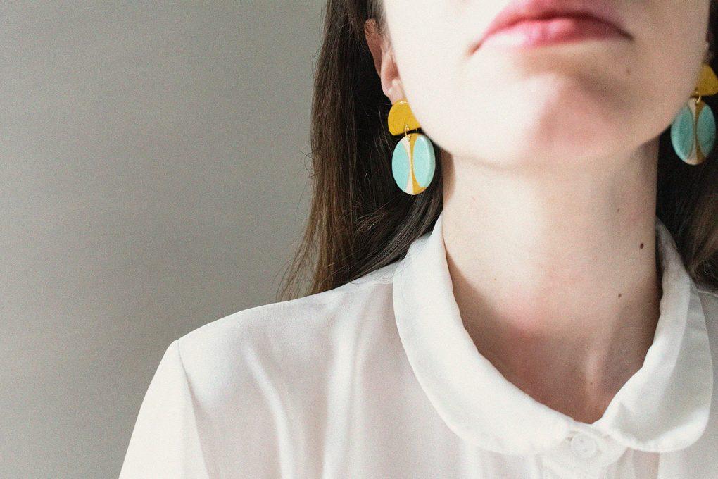 Texture '60| orecchini pendenti tondi