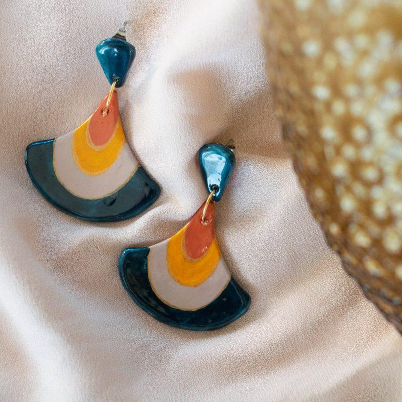 Orecchini pendenti blu navy della collezione Texture '60