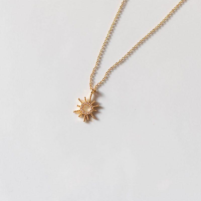 Collana con ciondolo sole in argento 925 e zirconi