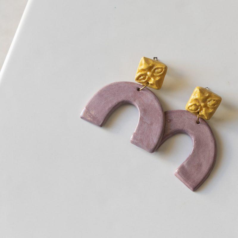 Orecchini in ceramica maioliche in rilievo, linea agata, gioielli artigianali, maioliche siciliane, gioielli fatti a mano, orecchini estivi