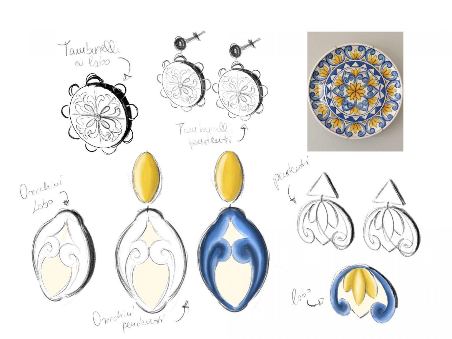 orecchini in ceramica, orecchini su misura, orecchini personalizzati in ceramica